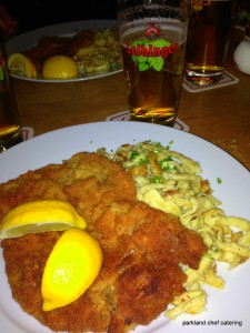 Schnitzel with lemon garnish